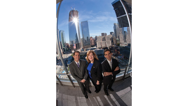 Diebold executives in front of World Trade Center