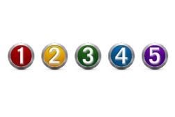 Image of five numbered buttons