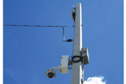 Video surveillance camera on a pole