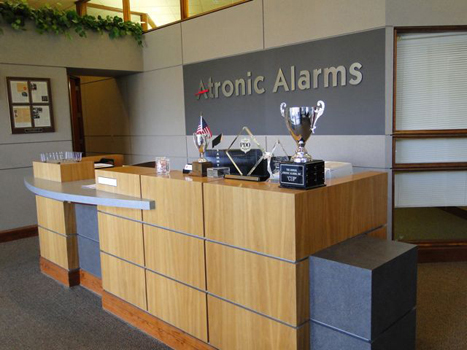 The inside reception area of the Atronic Alarms office building