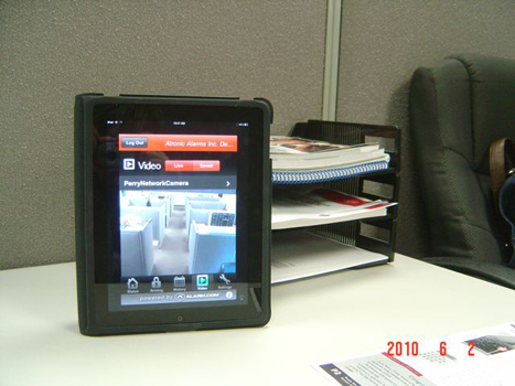 Live stream data of the Atronic Alarms office on an iPad