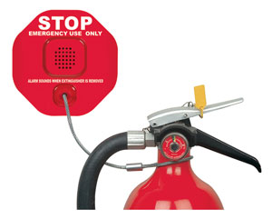 Fire Extinguisher Theft Stopper, a battery-operated alarm featuring a steel cable-operated switch mechanism