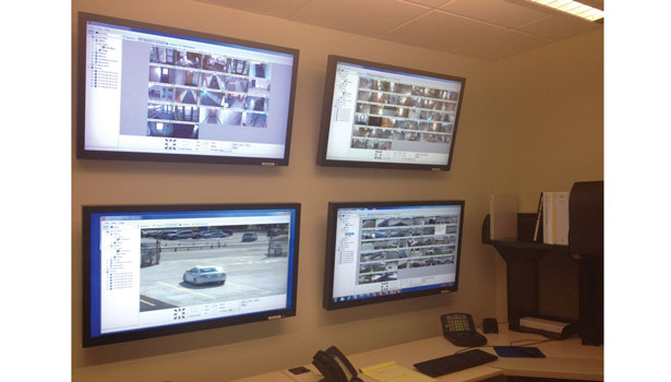 This four-wall monitor IP video system