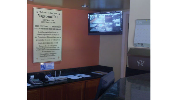 Asset Protection Services, San Jose, Calif., owned by Edward Madrid, installed this monitor at the Vagabond Inn, San Jose, Calif