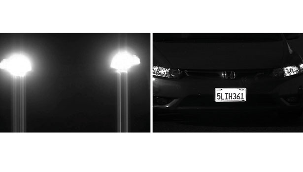 Comparison of an image from a conventional camera versus one from a dedicated license plate