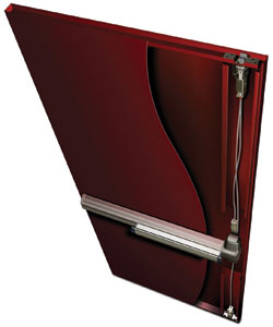 Von Duprin Concealed Vertical Cable System in a Steelcraft L-Series door