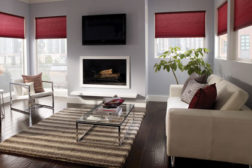Family room with shades and lighting control