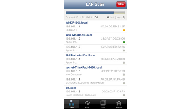 This Network Analyzer Lite for the iPhone can locate all active devices on a LAN.