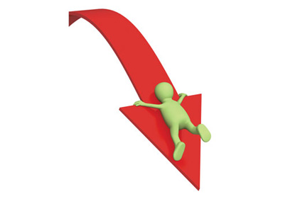 Red arrow with green person