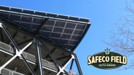 A Panasonic solar panel system at Safeco Field, the Seattle Mariners' home ballpark.