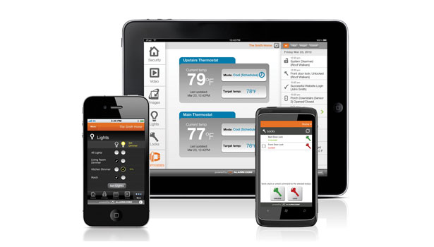 Mobile apps for smart-phones and tablet devices keep homeowners engaged with their security platform-based energy management systems