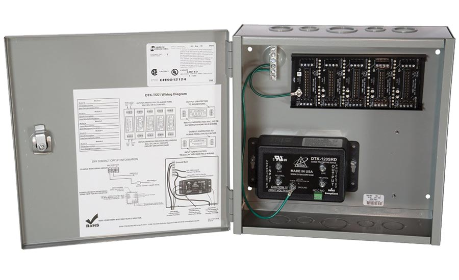 The Ditek DKT-TSS1 provides surge protection for 120 V system power with dry contacts