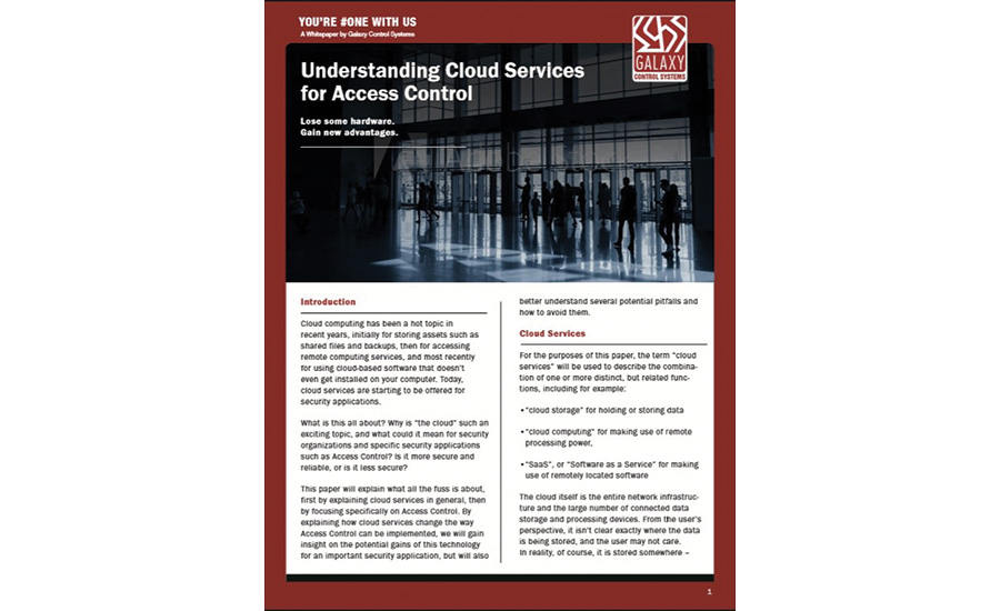 Galaxy Control Systems Publishes White Paper on Cloud-Based Access Control