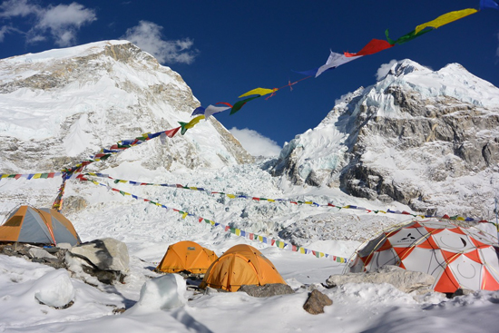 The southern part of the base camp, before the avalanche hit.