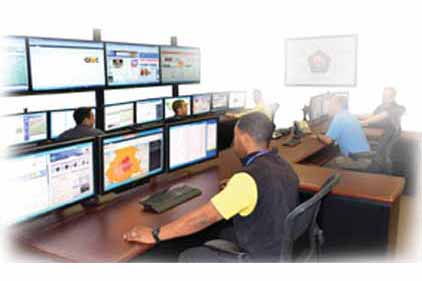People at monitoring stations