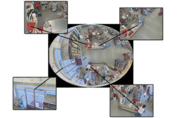 The raw image captured by an overhead 360-degree camera can provide detailed video of multiple locations, often allowing a single camera to replace multiple traditional cameras