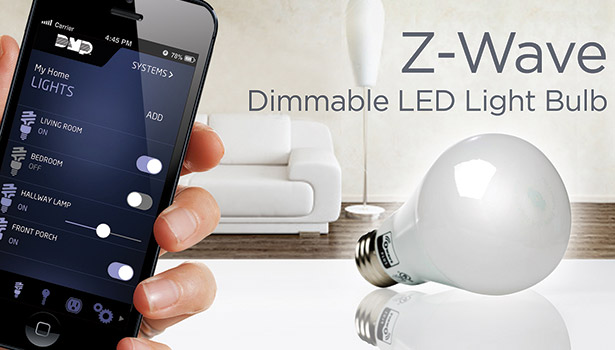 The Z-LB60Z-1 Z-Wave LED Light Bulb screws into any normal light bulb socket, consumes only 9 W and is dimmable to 100 levels.