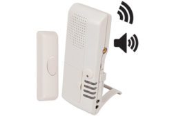 wireless doorbell button with 4-channel voice receiver (STI-V34600) alerts users when a guest or customer is waiting.