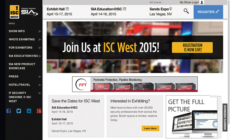 ISC West in Las Vegas, April 14 to 17, 2015 at the Sands Expo.