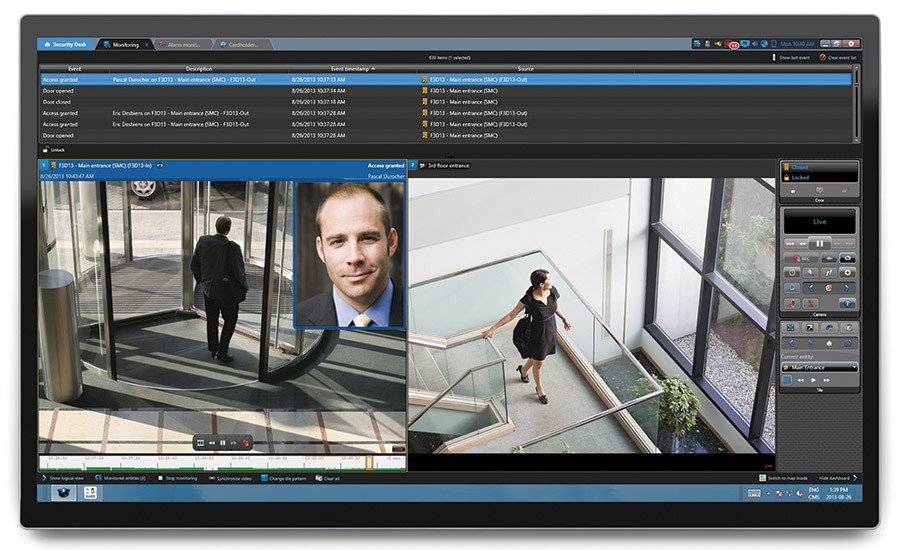 Unification of video, access control and other security modules provides the greatest flexibility