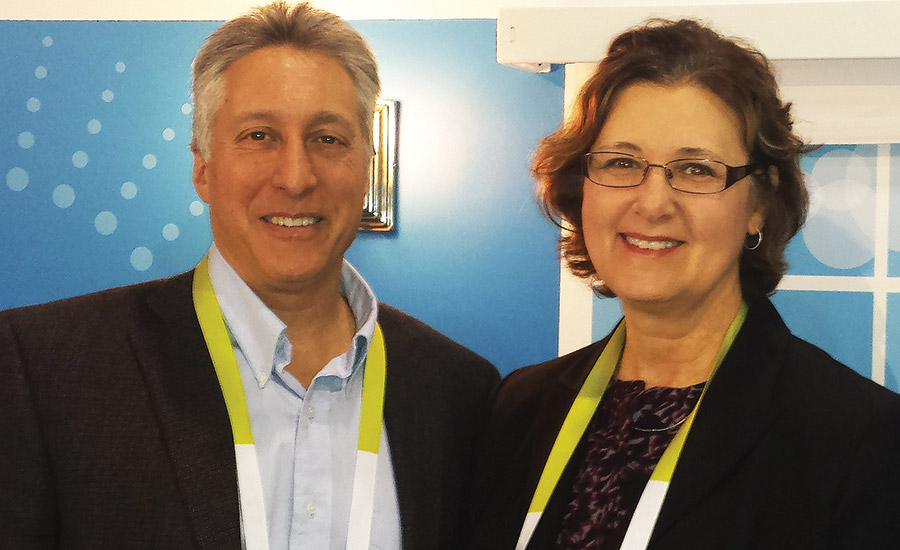 Rothman poses with SDM Editor Laura Stepanek during the 2015 Consumer Electronics Show, where Honeywell introduced its Lyric security and connected home platform.