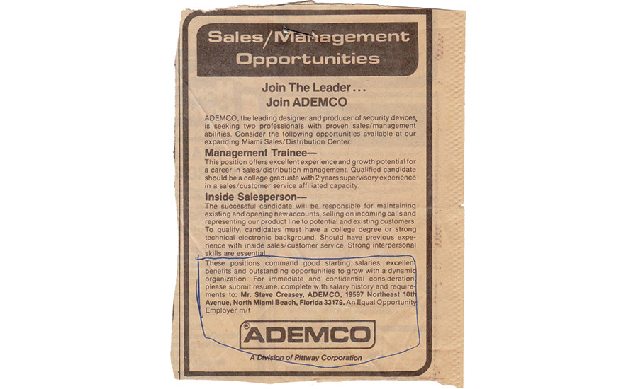 This newspaper ad led Rothman to his first job in the security industry, as inside sales rep at ADEMCO in North Miami.